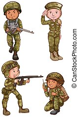 Simple sketches of the soldiers - Illustration of the simple...