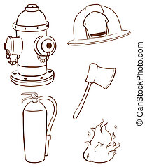 Simple sketches of the things used by a fireman