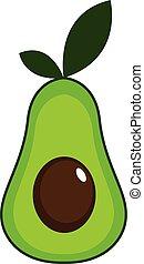 Simple slice of avocado vector illustration on white background