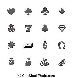 Simple Slot Machine Icons - Simple Set of Slot Machine...