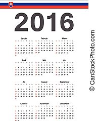 Simple Slovak 2016 year vector calendar. Week starts from Sunday.