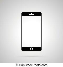 simple, smartphone, noir, silhouette, icône