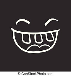 Simple smile with tongue vector icon. Hand drawn face doodle illustration on black background.