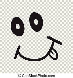 Simple smile with tongue vector icon. Hand drawn face doodle illustration on isolated background.