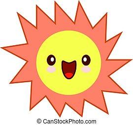 simple, soleil, character., isolé, jaune, dessin animé, vecteur, illustration, fond, blanc, sourire, mascotte