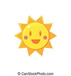 simple, soleil, dessin, jaune