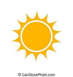 simple, soleil, plat, icône