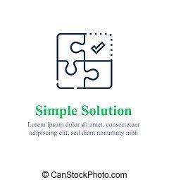 Simple solution concept, puzzle combination, jigsaw pieces