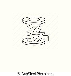 Simple spool of thread vector line icon