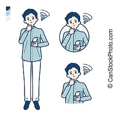 Man in a shirtwith Holding a smartphone and troubled images.It's vector art so it's easy to edit.