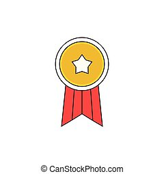 Simple Star Badge Vector Outline Icon Illustration