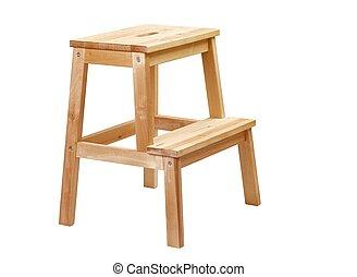 Simple Step LAdder - Wooden step ladder on white background