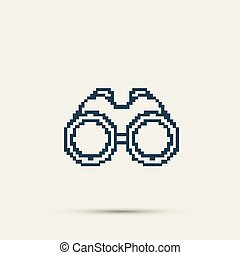 Simple style binoculars pixel icon. Vector Design