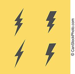 Lightning flat icons set - Simple style Lightning flat icons...