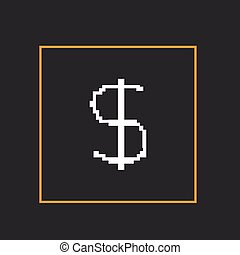 Simple style pixel icon dollar sign. Vector design