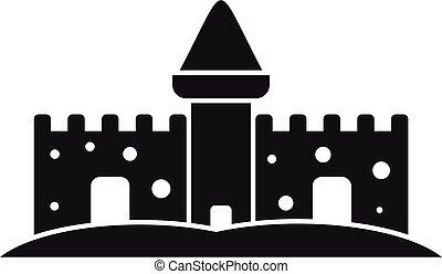 simple, style, sable, icône, conte fées, château