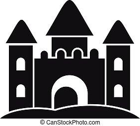 simple, style, sable, icône, fait, château