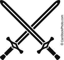 simple, style, traversé, épées, icône