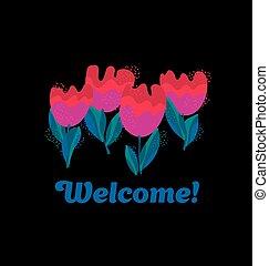 simple stylish tulip flower on black background. vector illustration.
