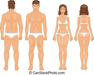 healthy body type of man and woman in retro colors - simple...