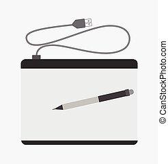 simple, stylo, tablette graphique