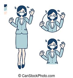 Business woman Wearing a mask with panic images.