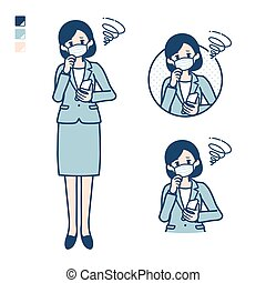 Business woman Wearing a mask with Holding a smartphone and troubled images.It's vector art so it's easy to edit.