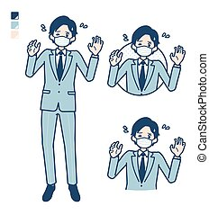 A young Businessman Wearing mask with panic images.