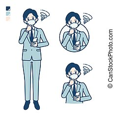 A young Businessman Wearing mask with Holding a smartphone and troubled images.It's vector art so it's easy to edit.