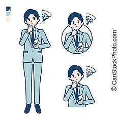 simple suit businessman_smartphone-sigh - A young ...