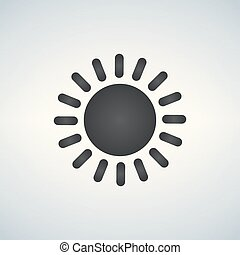 Simple sun Icon, vector illustration isolated on white background.