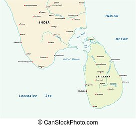 Simple survey map of sri lanca and south india