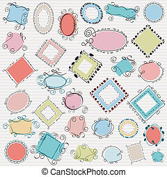 simple swirl doodle frames pack