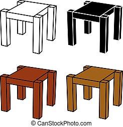 simple, symbole, bois, noir, table, 3d