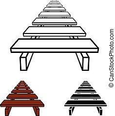 simple, symbole, passerelle, noir, bois, 3d
