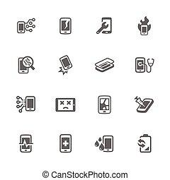 simple, téléphone, réparation, intelligent, icônes