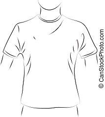 simple, t-shirt, blanc, noir, ligne