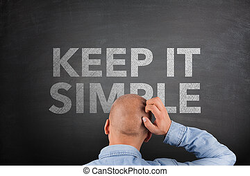 simple, tableau noir, concept, il, garder