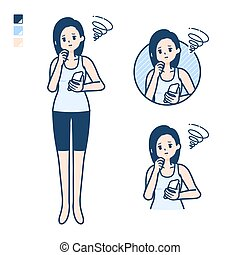 simple tank top woman smartphone-sigh - A woman in a tank ...