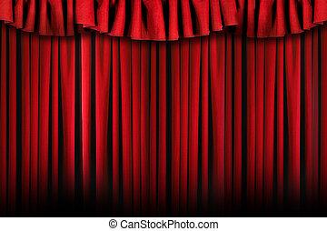 simple, teatro, etapa, cortinas, con, áspero, iluminación