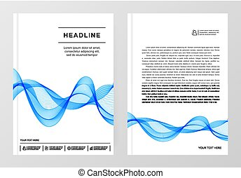 Simple Templates A4 with Blue Wave Line for Business Presentation, Publications, Blank.