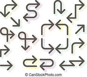 Simple thin arrows set - navigational arrows, line art icons