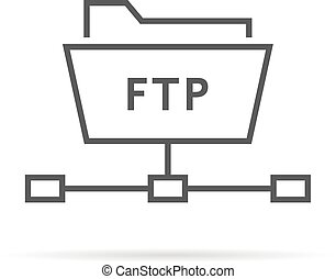 simple thin line ftp folder icon