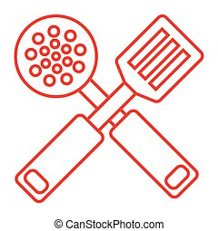 spatula - simple thin line spatula icon vector