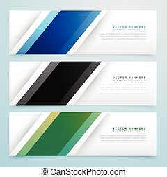 simple three color banner headers set