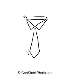 Simple Tie Icon Vector with doodle style