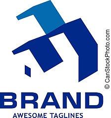 simple, toiture, maison, logo