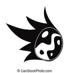 simple, tomber, noir, météore, icône