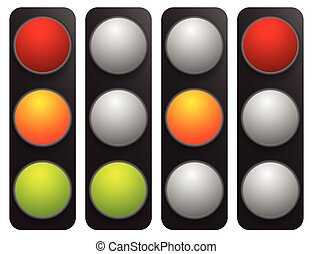 Simple traffic light / traffic lamp set in sequence. Control...