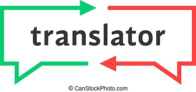 simple, translator, ligne, mince, logo